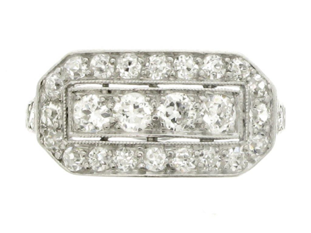 front view Kohn diamond cluster ring, American, circa 1915.