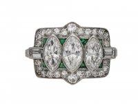 Art Deco diamond and emerald cluster ring berganza hatton garden