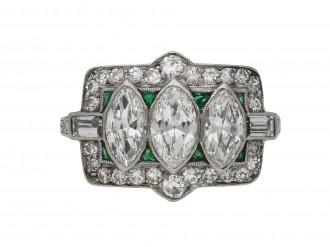 Art Deco diamond and emerald cluster ring berganza hatton garden