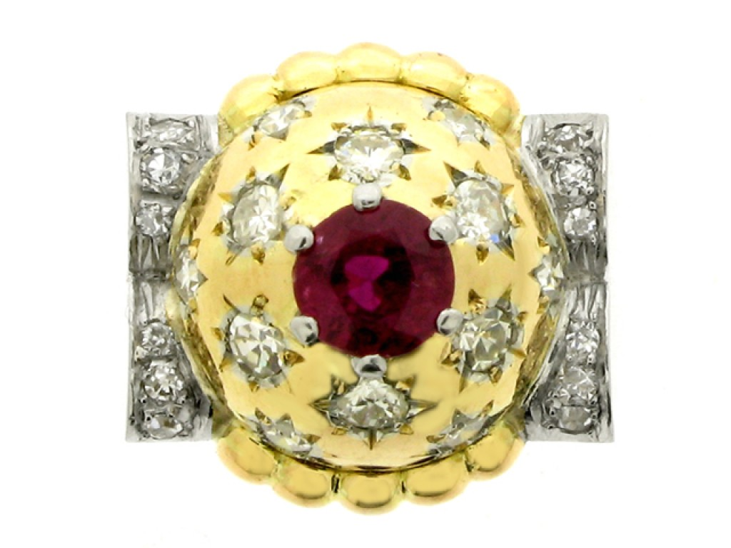 front view Ruby and diamond cocktail ring, circa 1945.