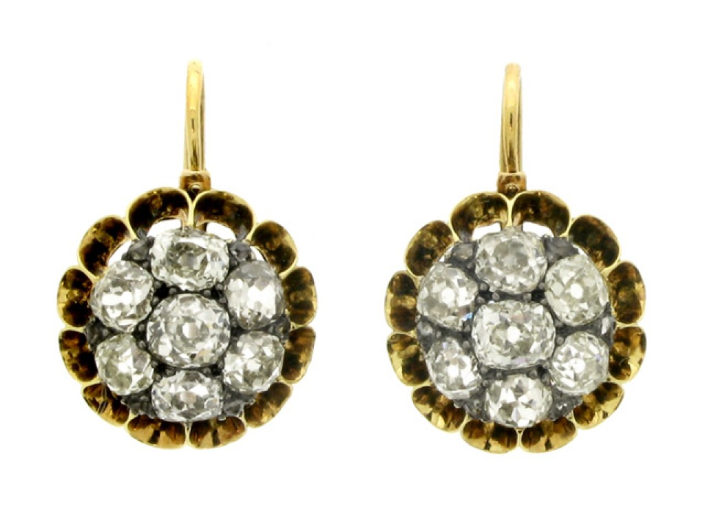 front view Antique diamond cluster earrings, circa 1870.