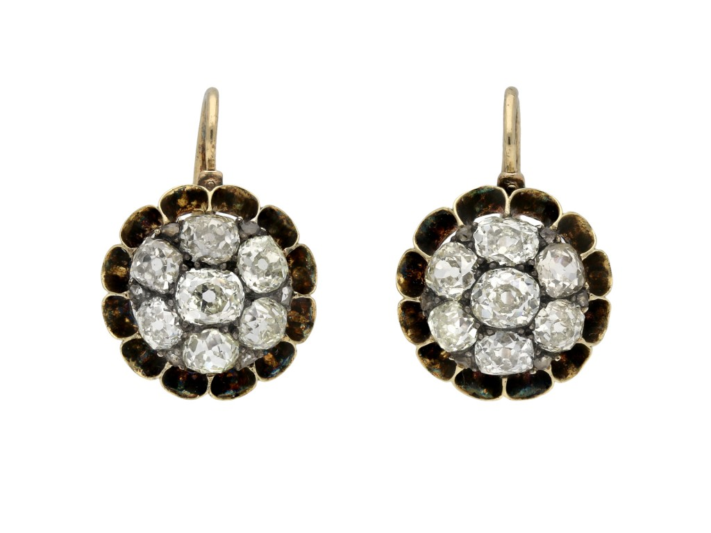 Victorian diamond cluster earrings hatton garden berganza