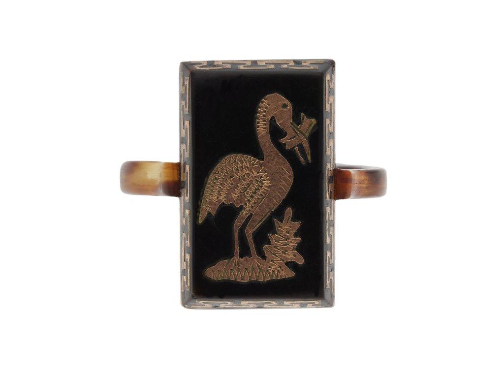 Piqué work gold and tortoiseshell ring berganza hatton garden