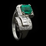 Art Deco emerald and diamond ring, French, circa 1938.