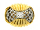 front view Diamond cocktail ring, French, circa 1950.