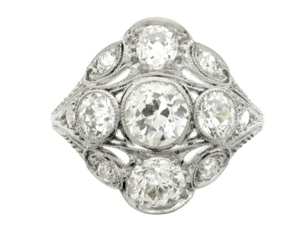 front view Ornate diamond cluster ring, circa 1920.