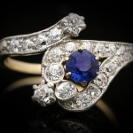 Edwardian sapphire and diamond snake ring, circa 1905.