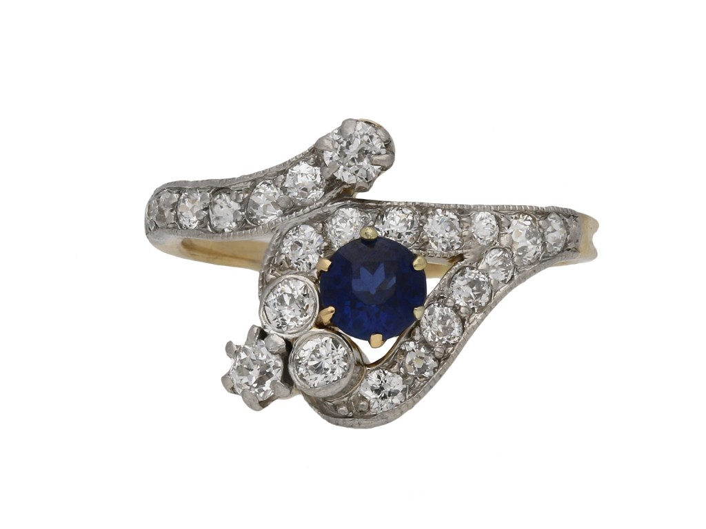 Edwardian sapphire and diamond snake ring berganza hatton garden