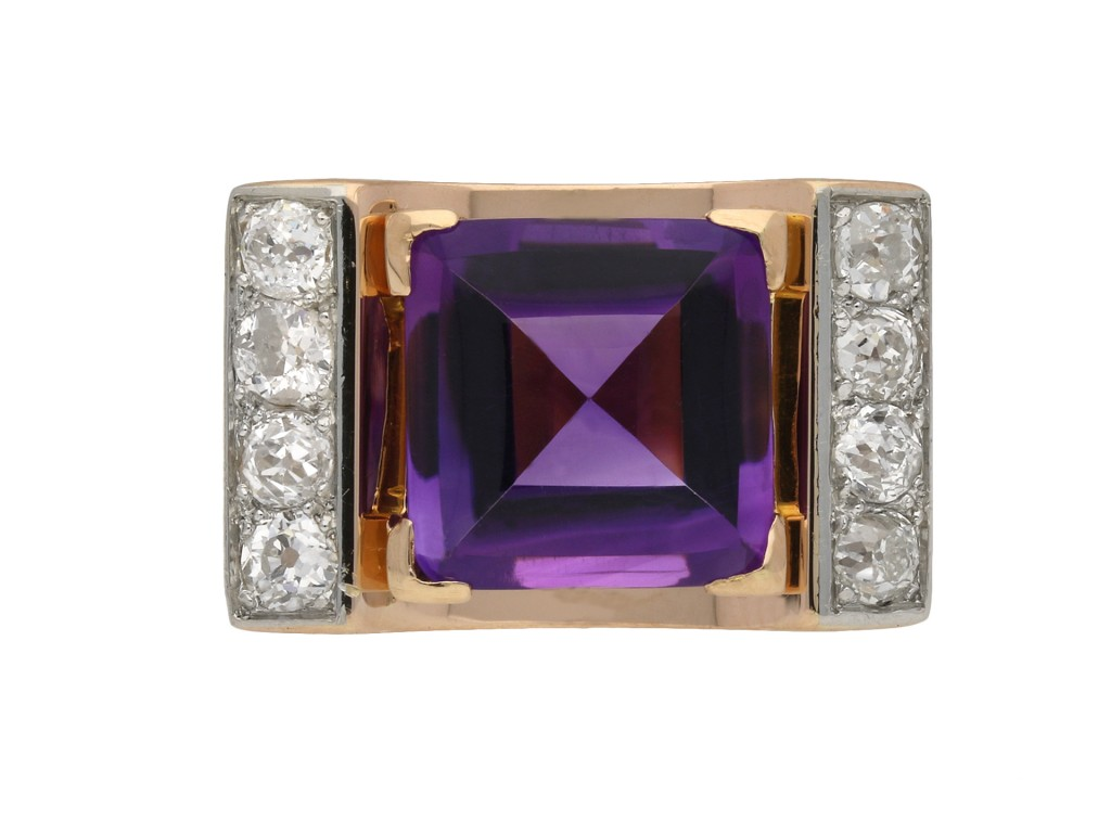 Amethyst and diamond cocktail ring berganza hatton garden
