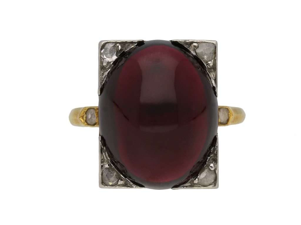 Victorian cabochon garnet and diamond ring berganza hatton garden