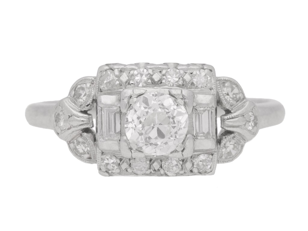 front view Diamond cluster ring, American, circa 1950.