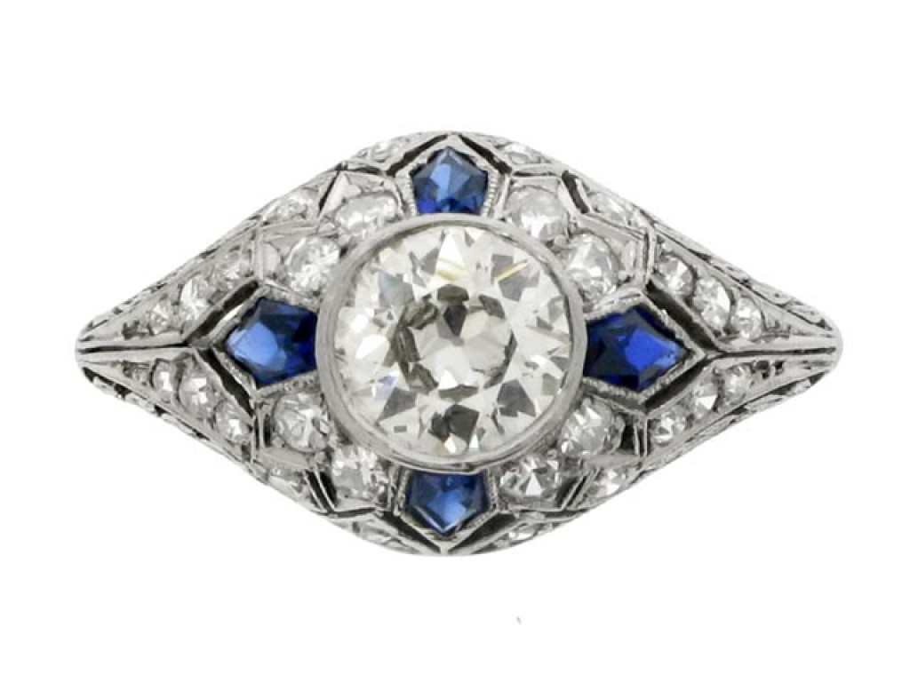 front view Diamond and calibré cut sapphire ring, circa 1920.