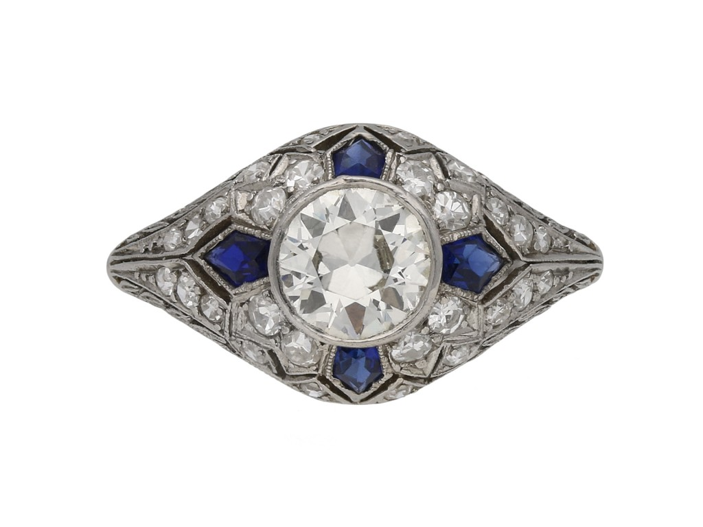 Diamond and calibré cut sapphire ring berganza hatton garden