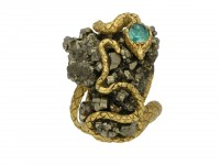 Emerald and pyrite snake ring berganza hatton garden