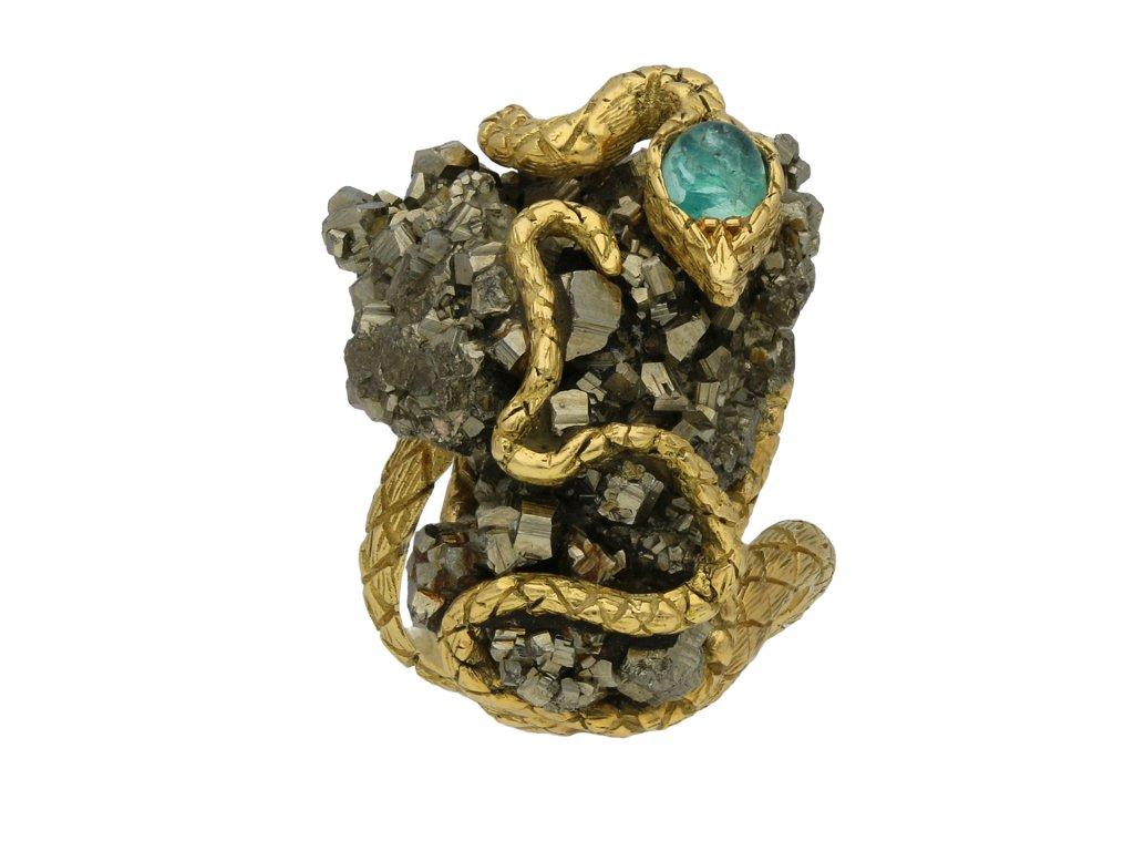 Emerald and pyrite snake ring berganza hatton garden