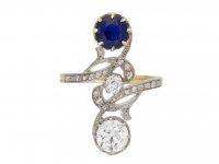 Art Nouveau sapphire diamond crossover ring berganza hatton garden