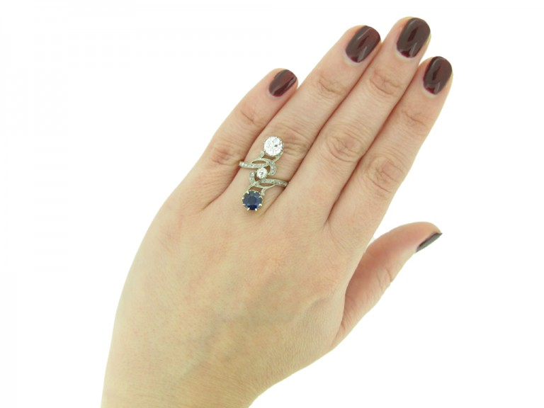 Art Nouveau sapphire diamond crossover ring berganza hatton garden