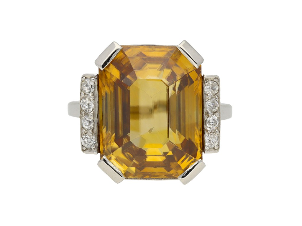Art Deco golden zircon and diamond ring berganza hatton garden