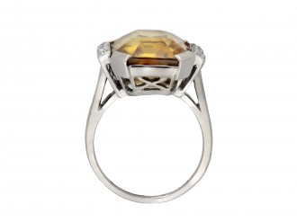 Art Deco golden zircon and diamond ring berganza hatton garden