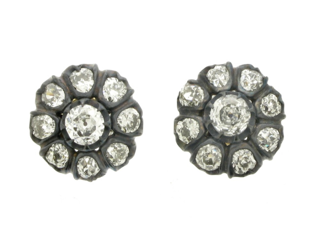 front view antique diamond stud earrings berganza hatton garden