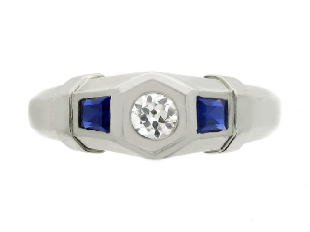 front view Diamond and sapphire ring, French, circa 1935.
