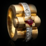 Ruby and diamond cocktail ring, circa 1945.