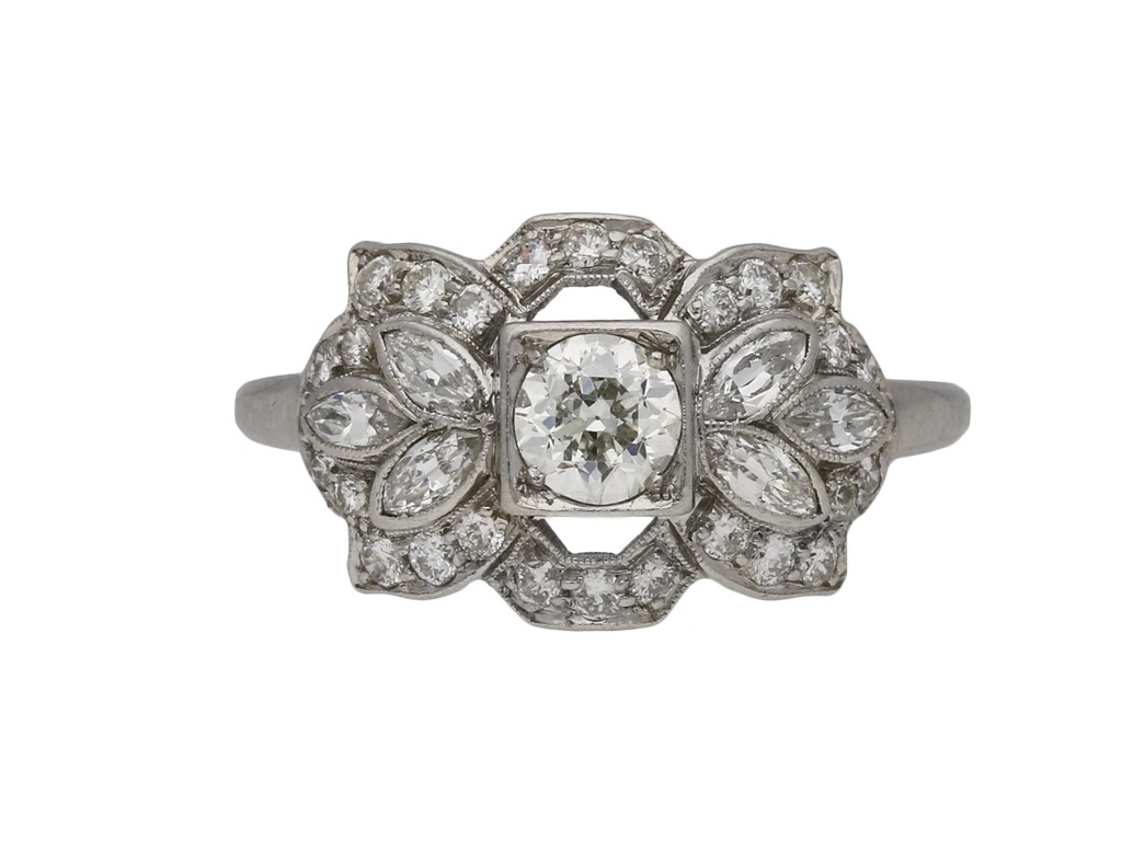 Ornate diamond cluster ring, American berganza hatton garden