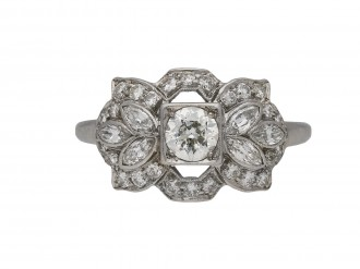 Ornate diamond cluster ring, American berganza hatton garden