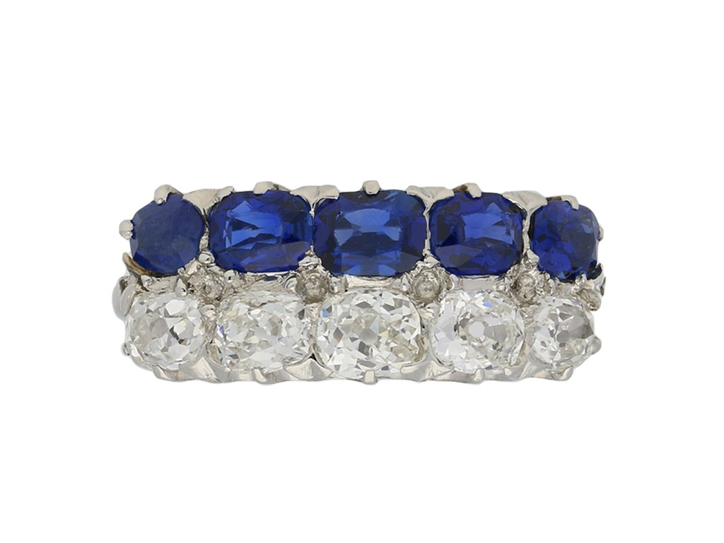 Two row sapphire diamond ring berganza hatton garden