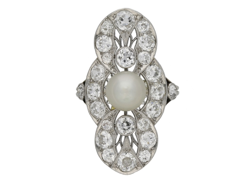 Belle Époque pearl and diamond ring berganza hatton garden