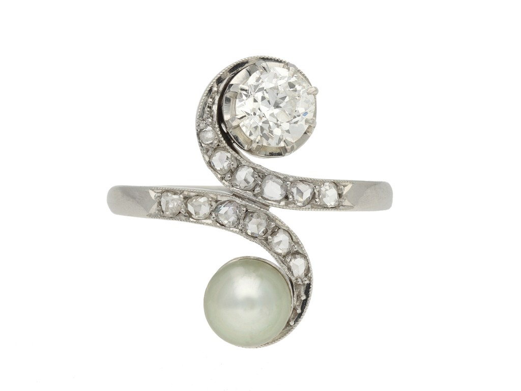 Pearl and diamond crossover ring berganza hatton garden