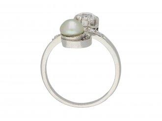 Pearl and diamond crossover ring berganza hatton garden