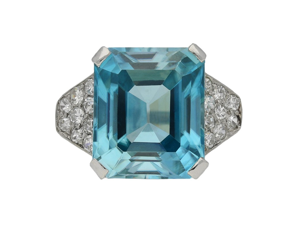 Art Deco zircon diamond ring berganza hatton garden