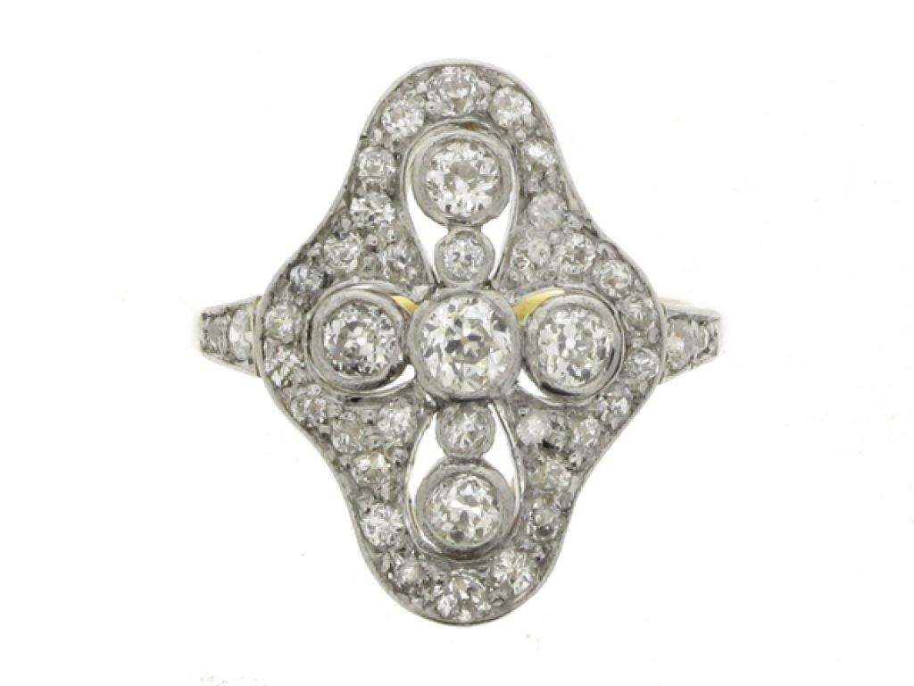 front view Edwardian quatrefoil diamond cluster ring, circa 1910.