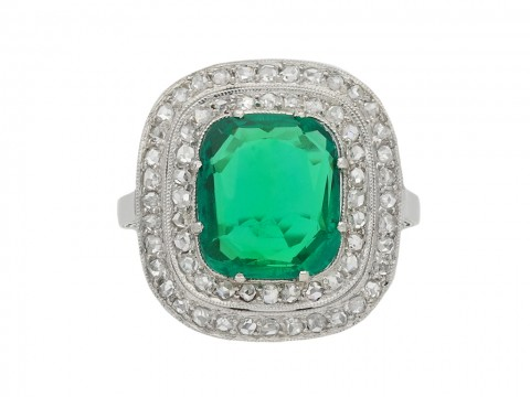 Emerald and diamond cluster ring berganza hatton garden