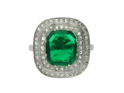 Emerald and diamond cluster ring hatton garden