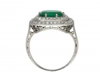 Emerald and diamond cluster ring hatton garden
