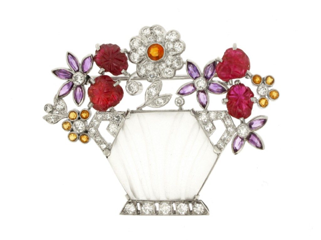 front view Gem set flower vase brooch, circa 1935.