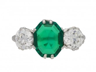 Edwardian old mine emerald diamond ring berganza hatton garden