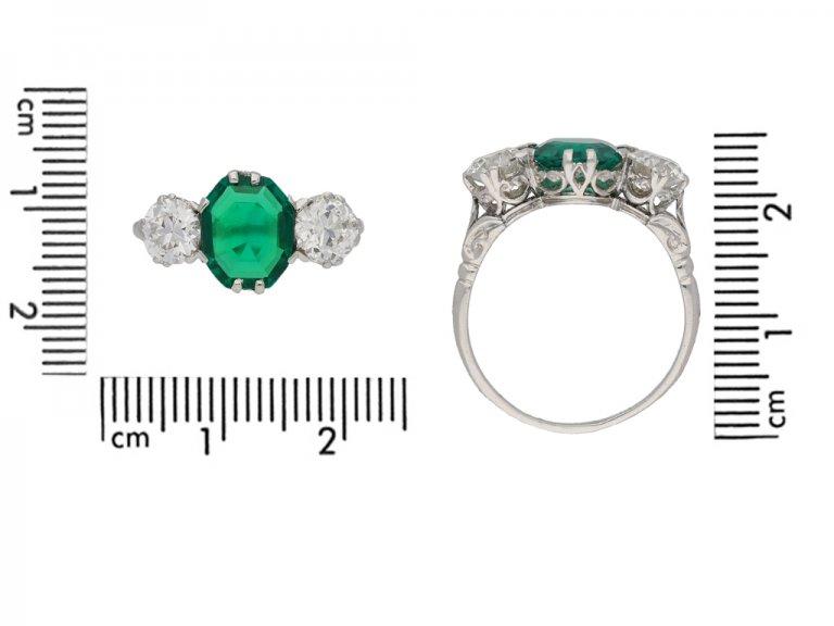 Edwardian old mine emerald diamond ring berganza hatton garden