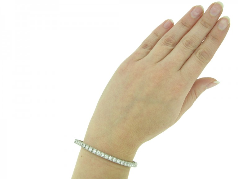 Diamond set engraved line bracelet berganza hatton garden
