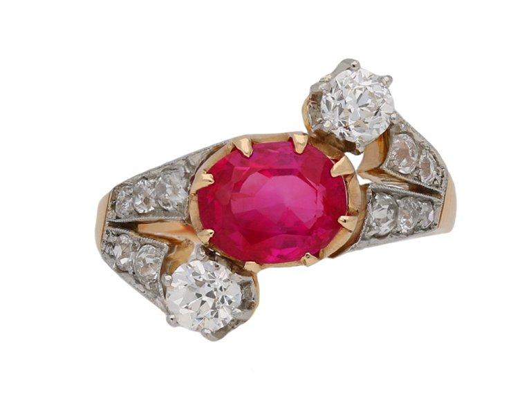 Burmese ruby and diamond crossover ring berganza hatton garden