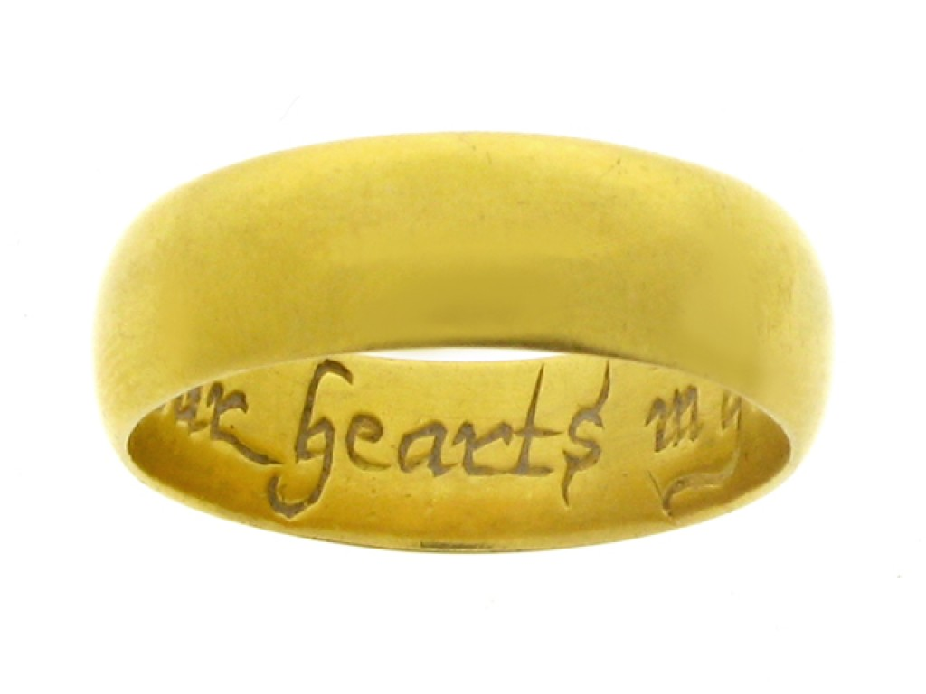 Gold posy ring, '* We Joine our hearts in god', 18th century.