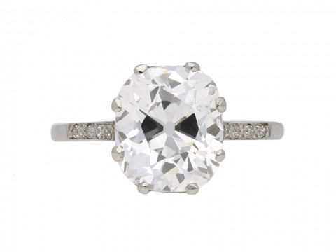 Cushion shape Golconda diamond ring berganza hatton garden