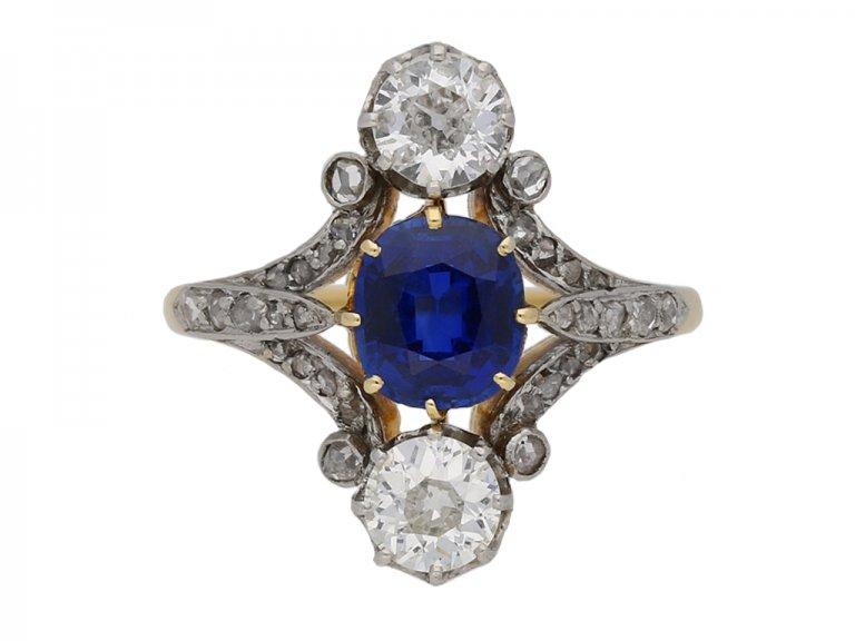 Art Nouveau sapphire and diamond ring berganza hatton garden