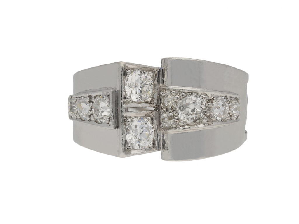 Art Deco diamond cocktail ring berganza hatton garden