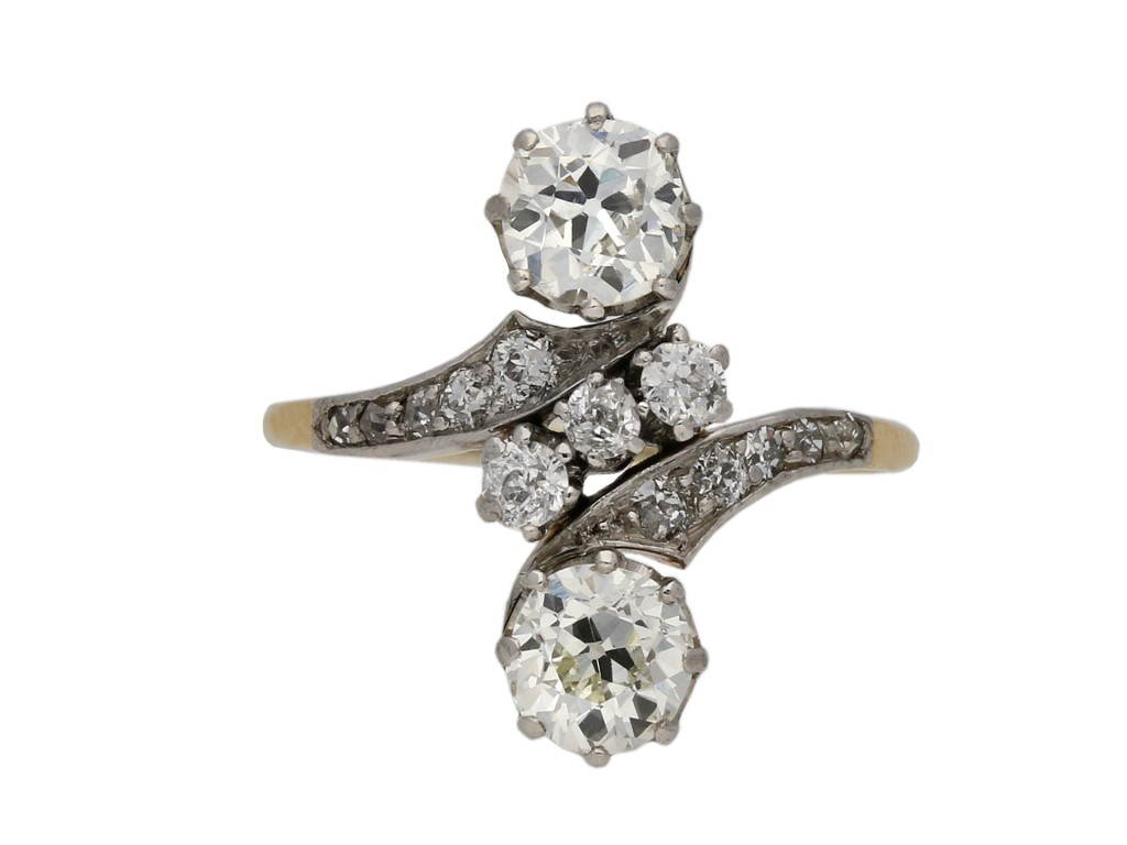Antique diamond crossover ring berganza hatton garden