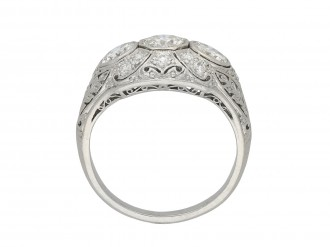 Edwardian three stone diamond cluster ring berganza hatton garden
