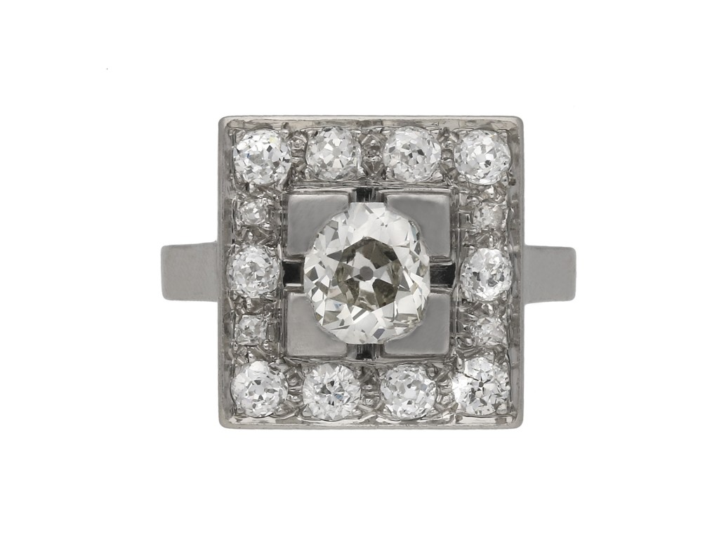 Art Deco diamond cluster ring hatton garden berganza