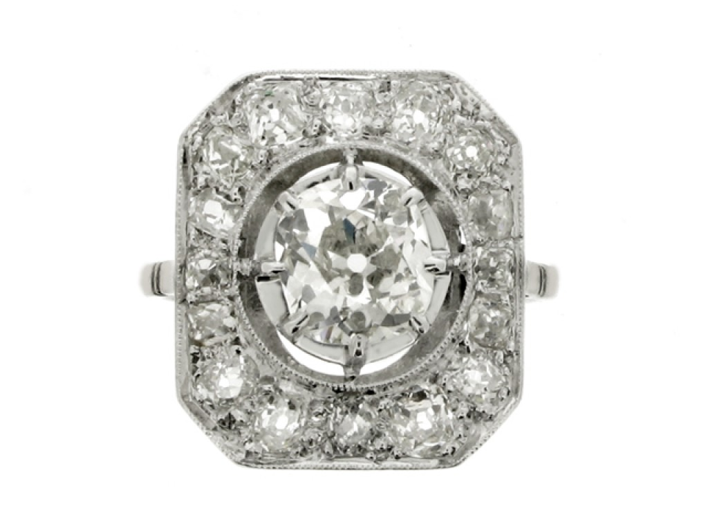 front view Octagonal diamond coronet cluster ring, French, circa 1920.